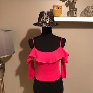 NWT Zara hot pink cold shoulder crop top